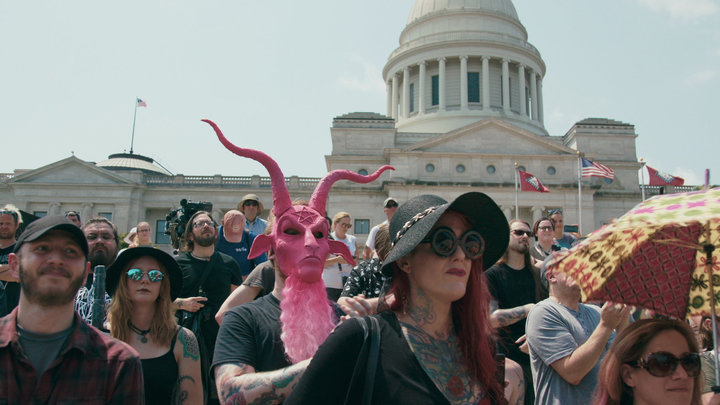 Satanic Temple supporters gather at an August 2018 rally for religious liberty in Little Rock, Arkansas.