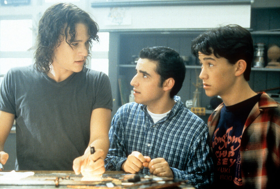 "Ledger, David Krumholtz and Joseph Gordon-Levitt in ""10 Things I Hate About You."""