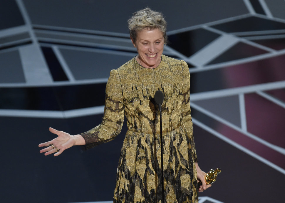 """Frances McDormand accepts the Best Actress Oscar last year for """"Three Billboards Outside Ebbing, Missouri."""""""