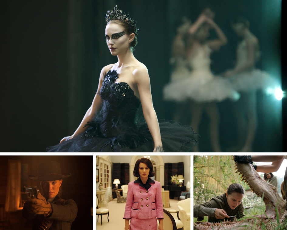 "Clockwise from top: ""Black Swan,"" ""Annihilation,"" ""Jackie"" and ""Jane Got a Gun."""