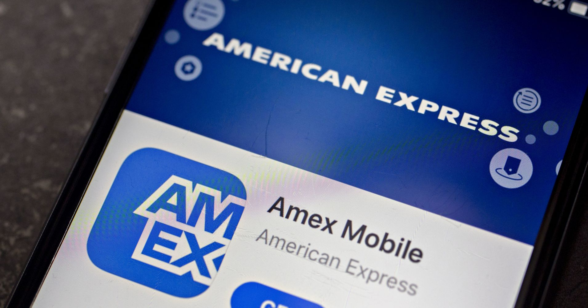 The American Express Co. application is displayed in the App Store on an Apple Inc. iPhone in an arranged photograph taken in Washington, D.C.