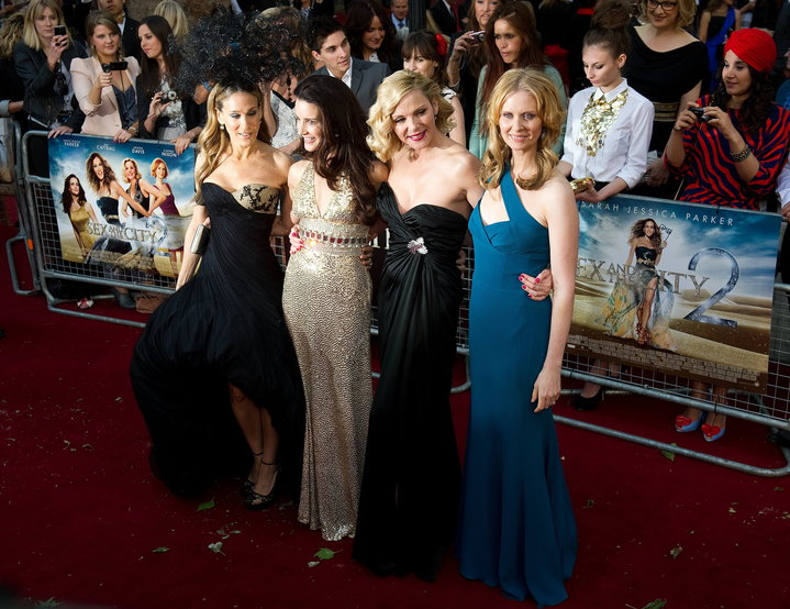 """Sarah Jessica Parker, Kristin Davis, Kim Cattrall and Cynthia Nixon at the """"Sex and the City 2"""" premiere in 2010."""