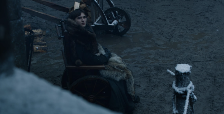 Bran also looking at Tyrion in Season 8, Episode 1.