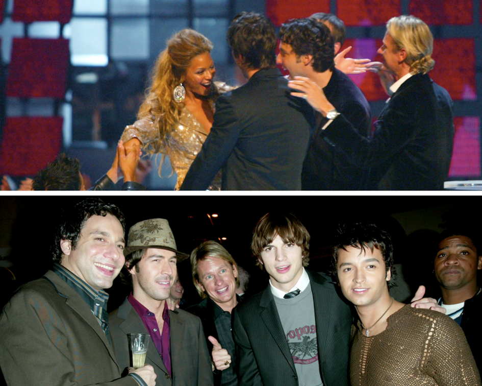 Top image: Beyoncé at the 2003 MTV Video Music Awards. Bottom image: Ashton Kutcher at VH1's Big In 2003 Awards.