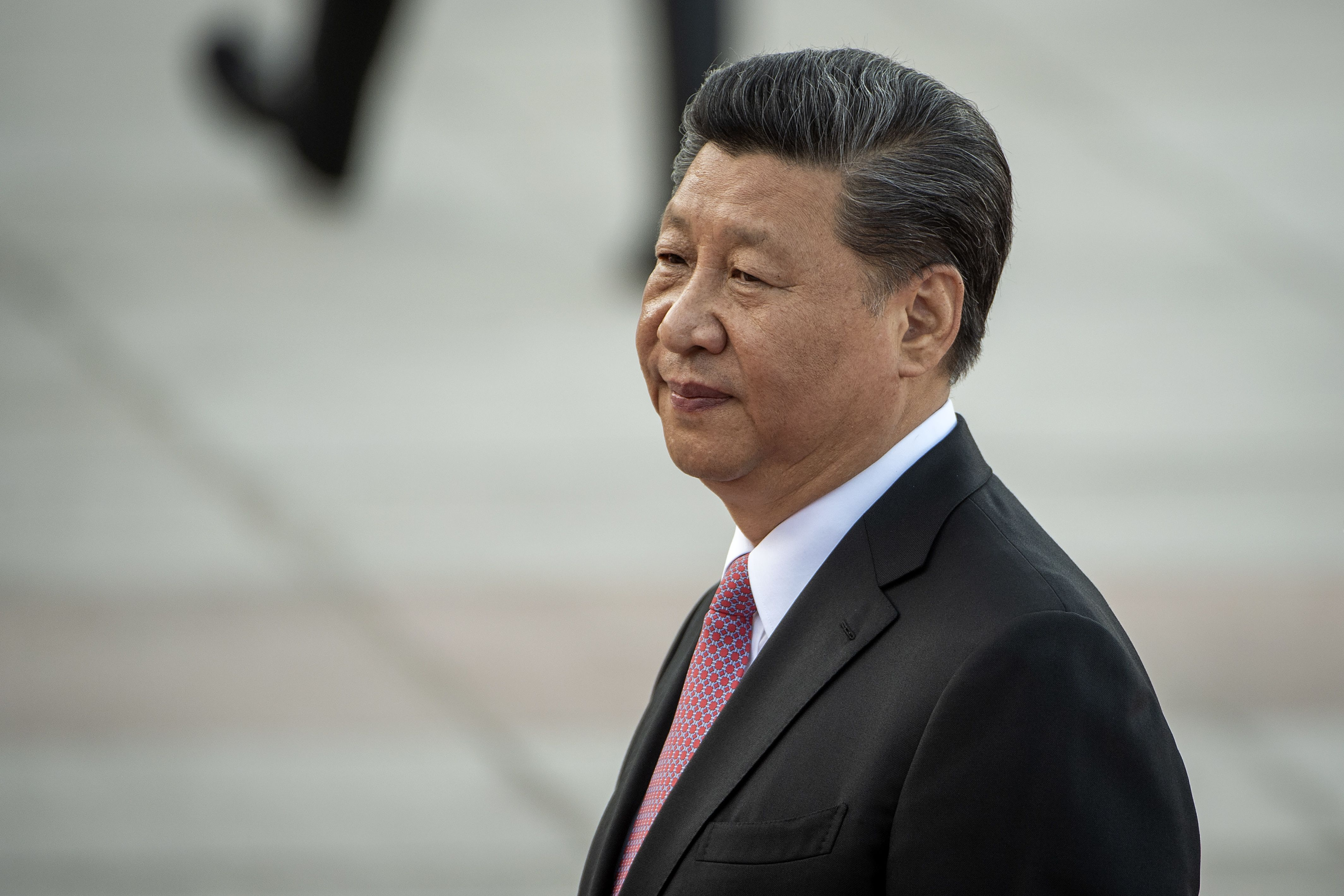 Chinese President Xi Jinping attends a welcome ceremony at the Great Hall of the People in Beijing on May 28, 2019.