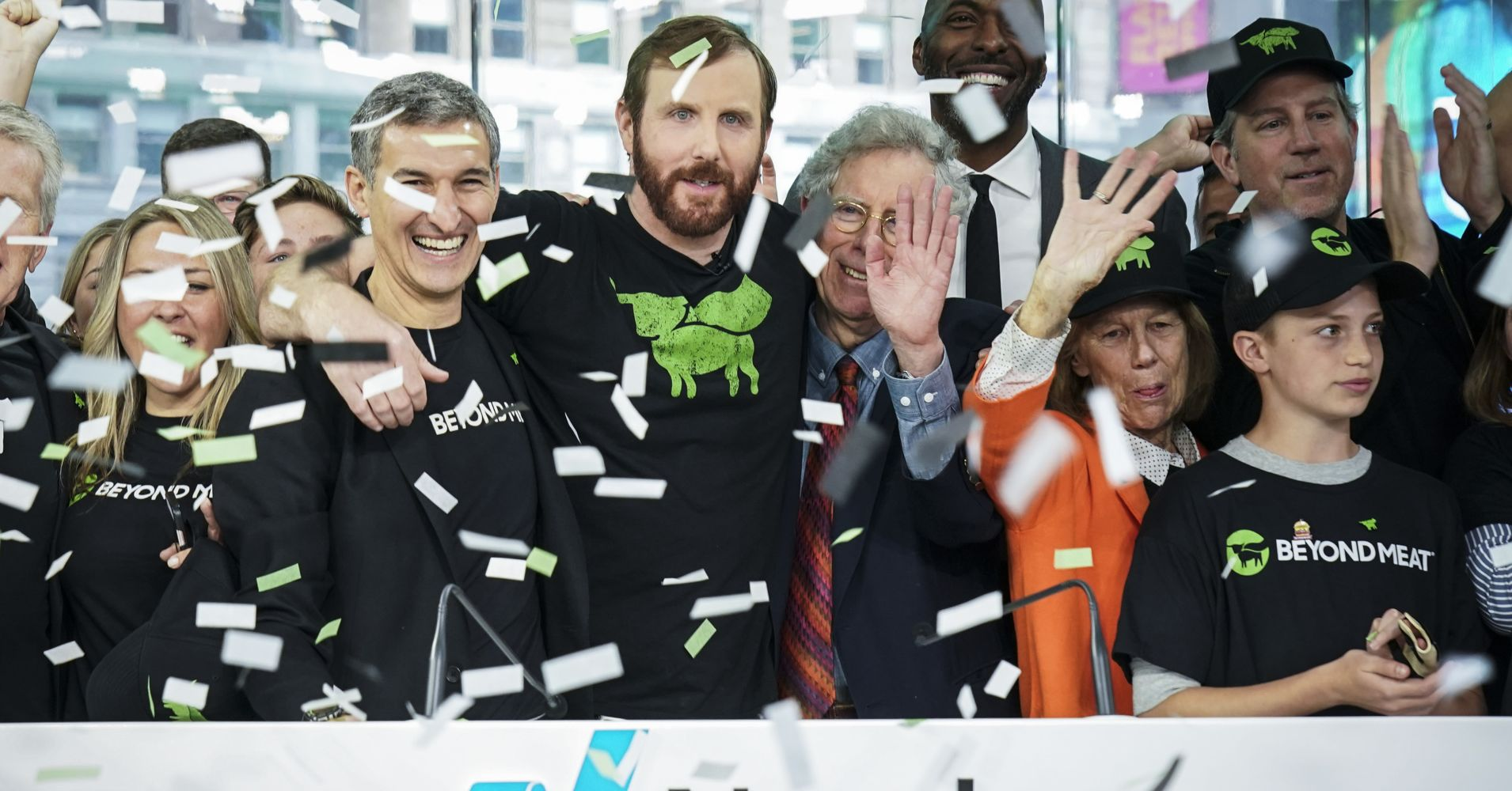 Beyond Meat CEO Ethan Brown (C) celebrates with guests after ringing the opening bell at Nasdaq MarketSite, May 2, 2019 in New York City.