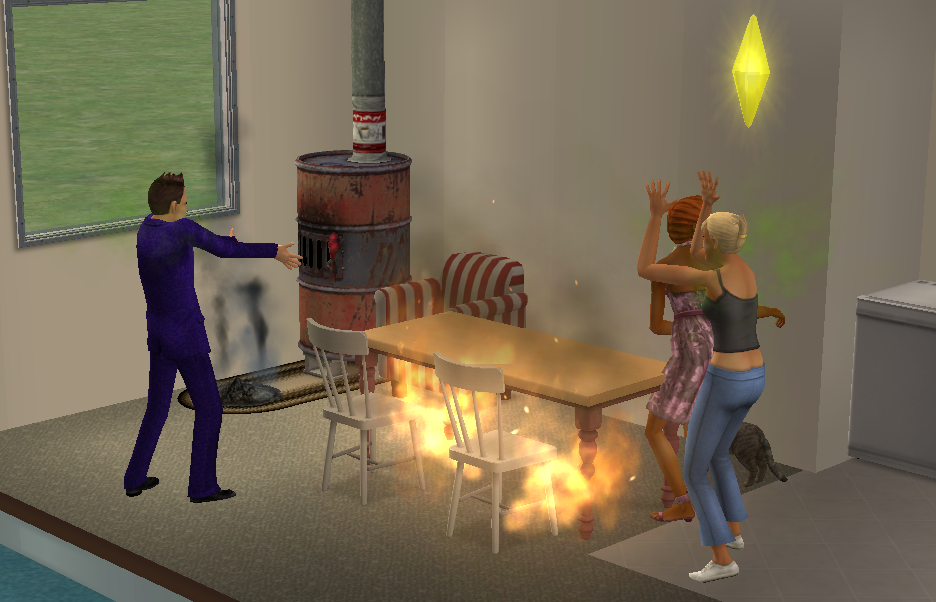 "A ""shoddy fireplace"" did the trick to start a fire in ""Sims 2."" The cat, seen in the lower right corner, ended up running awa"