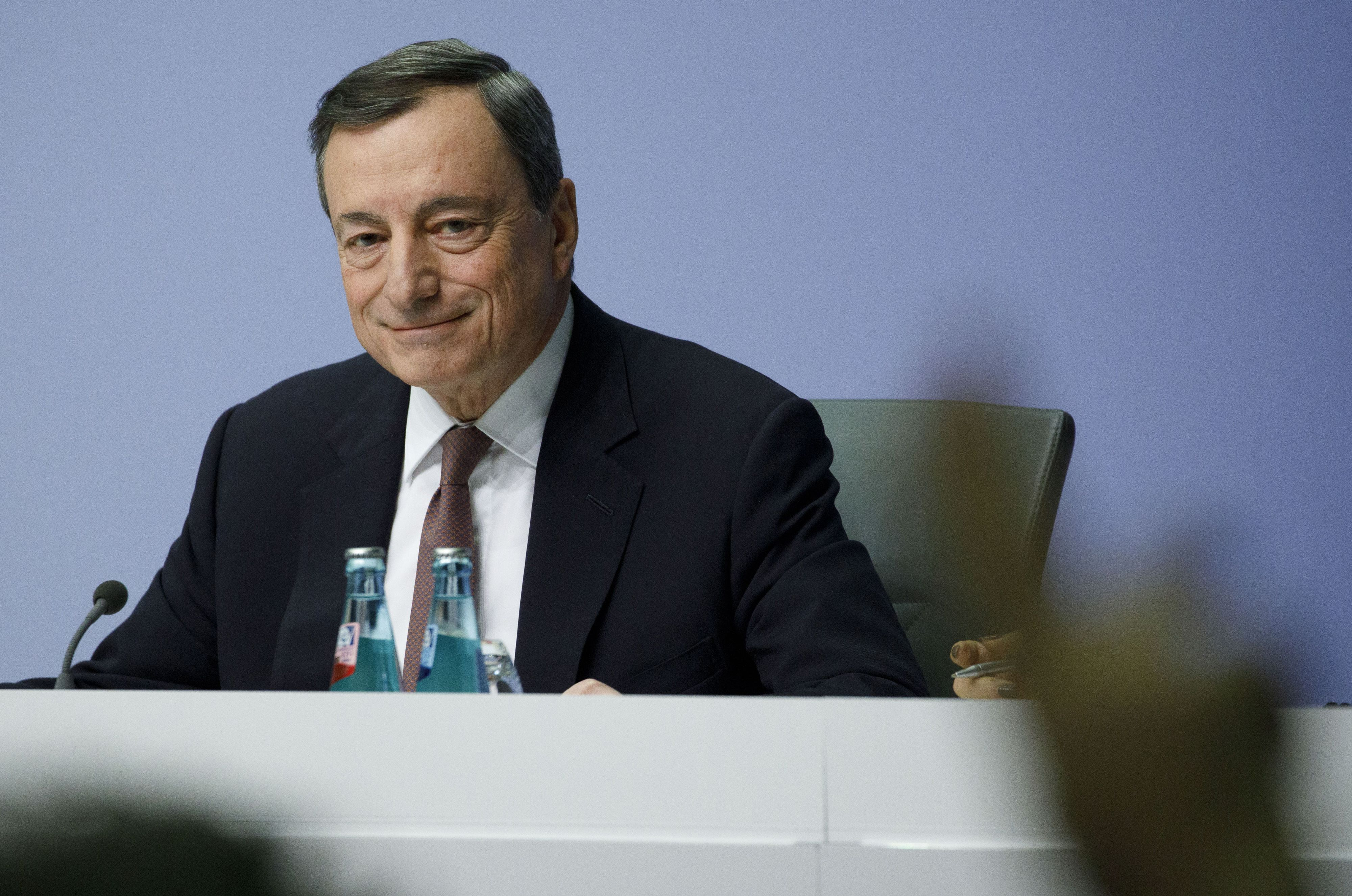 ECB President Draghi speaks at press conference after policy decision