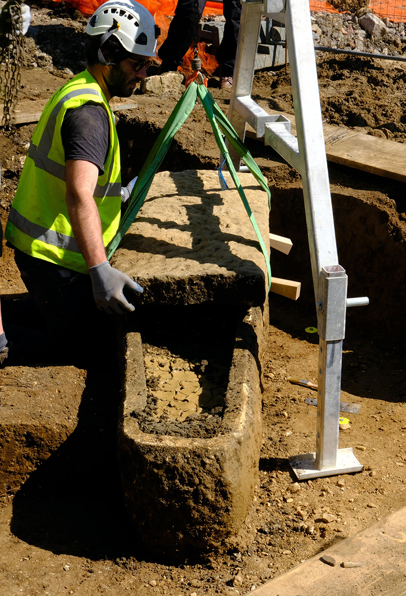 Ancient Roman Sarcophagus Containing Two Skeletons Unearthed in Bath, England